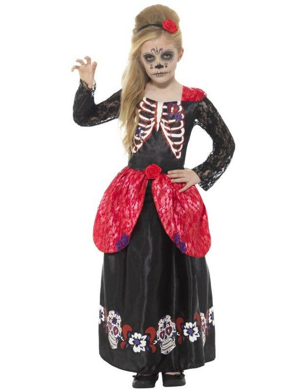 Girls Deluxe Day of the Dead Halloween Costume Main Image