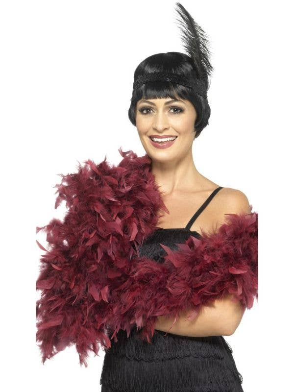 1920's Burlesque Women's Deep Red Maroon Fluffy Feather Boa Costume Accessory By Smiffys Main Image