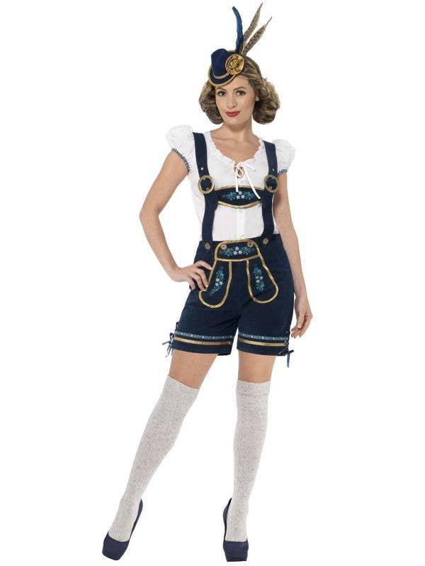 Womens traditional deluxe bavarian blue lederhosen oktoberfest costume image 1