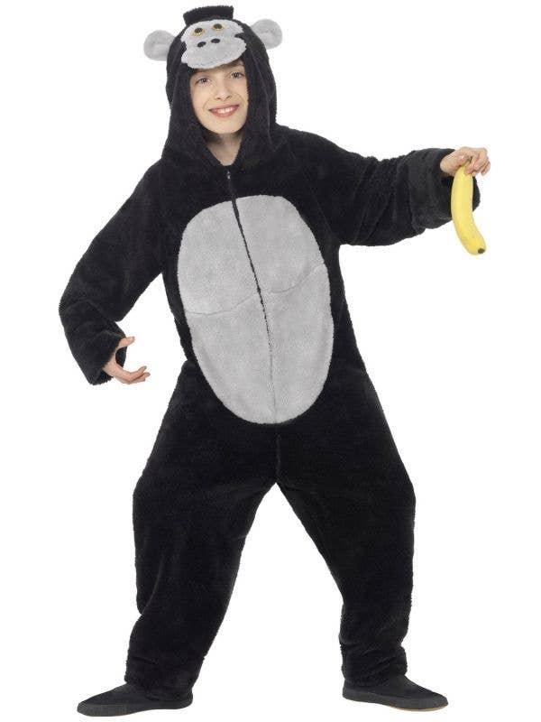 Black Gorilla Children's Party Animal Fancy Dress Costume Front iew