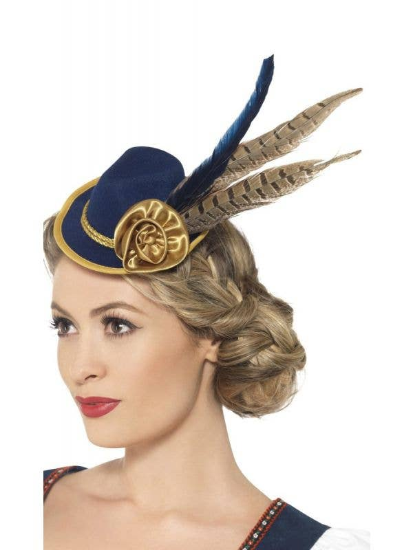 Smiffys Mini Navy and Gold Feathered Oktoberfest Women-s Costume Hat on Hair Clips - View 1