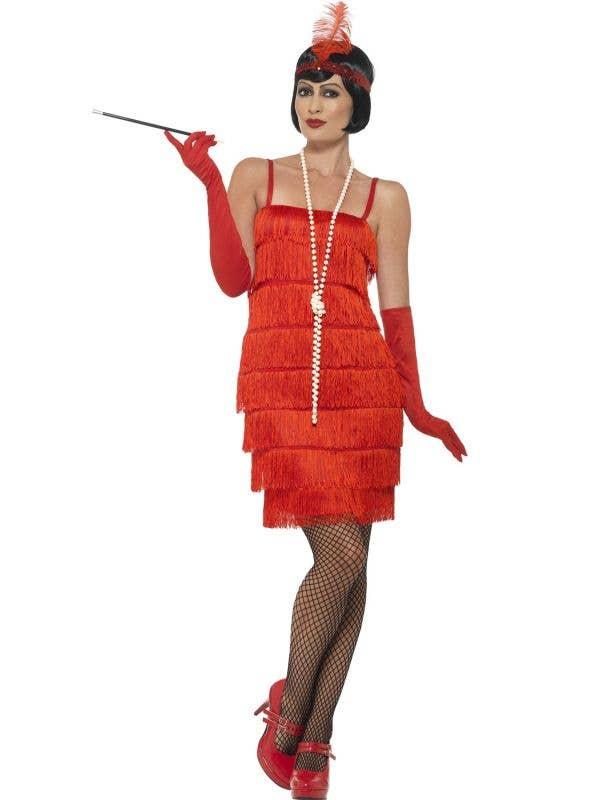 Womens Red Flapper Dress with Matching Red Gloves and Headband - Main Image