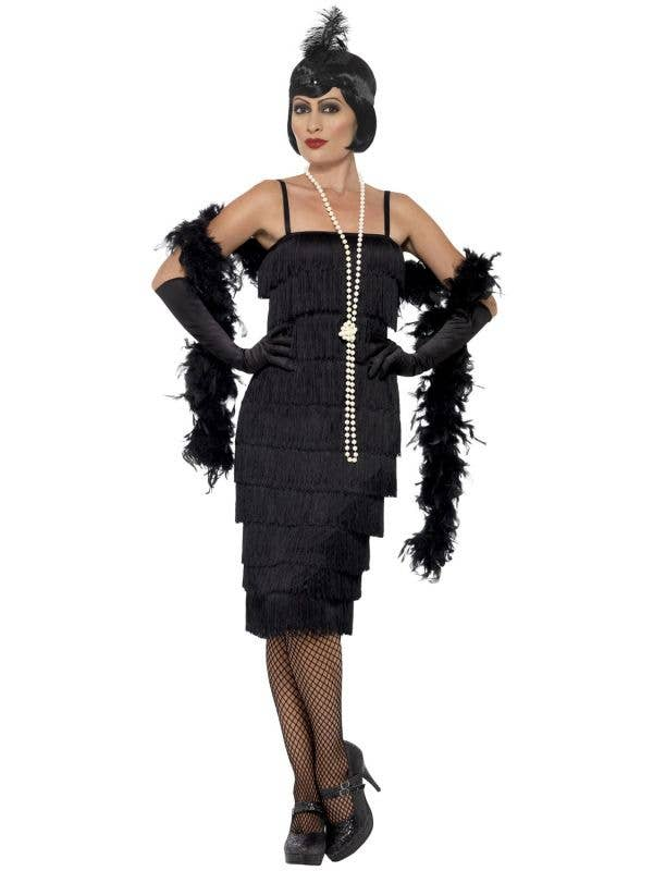 Women's Long Black Fully Fringed Flapper Dress Costume Front View