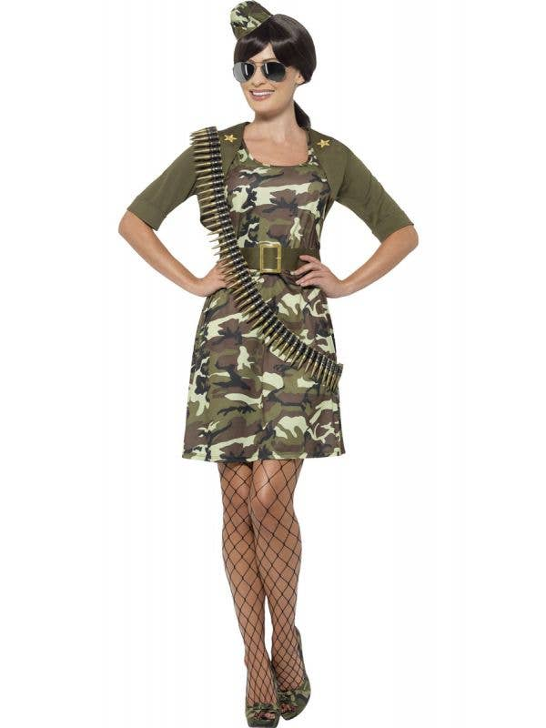 Women's Army Camouflage Sexy Costume Front View