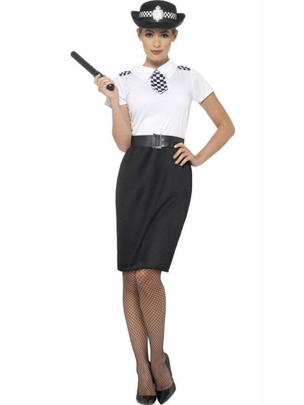 Women's British Police Officer Fancy Dress Costume Front View