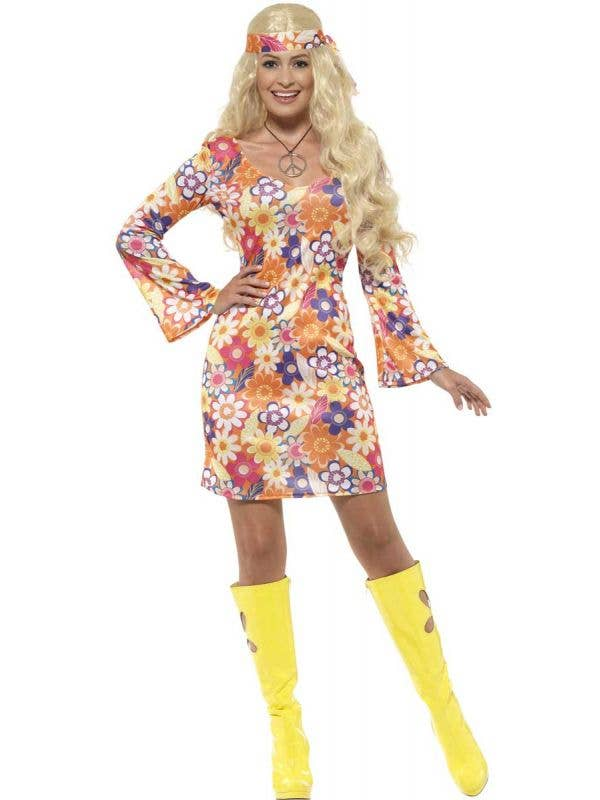 Womens Flower Hippie 60s Dress Costume - Front View