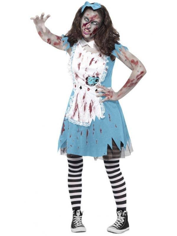 teen girls zombie alice in wonderland twisted fairytale fancy dress halloween costume main image