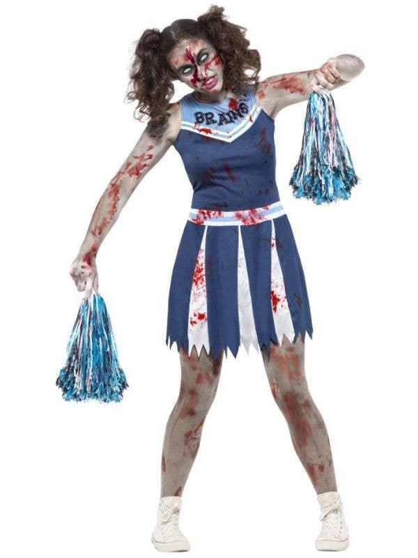 smiffys teen girls high school cheerleader zombie blood splattered halloween fancy dress costume main image