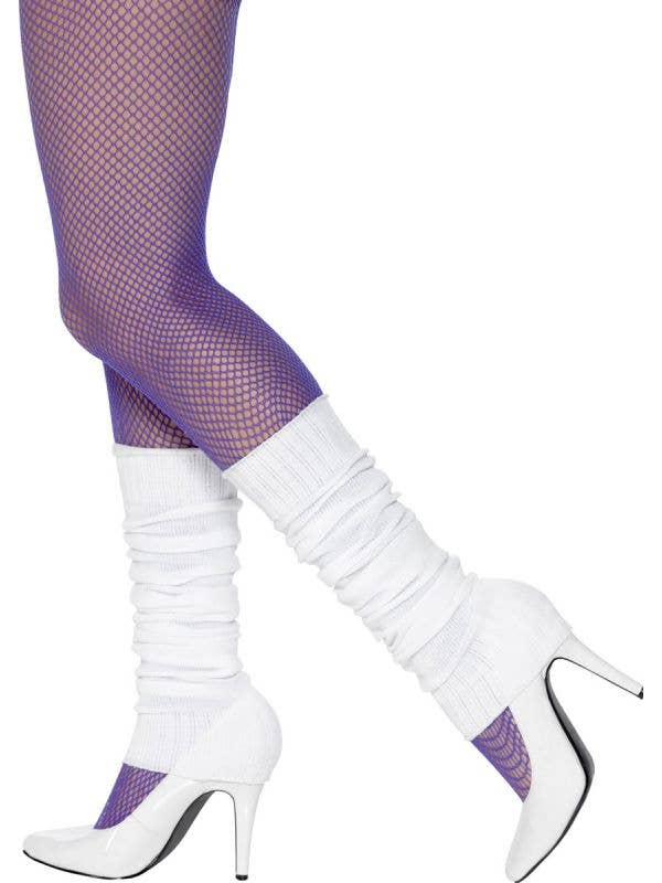 80s Fashiom Women's White 1980's Costume Leg Warmers - Main Image