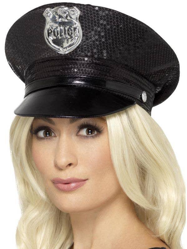 Women's Black Sequined Police Officer Hat