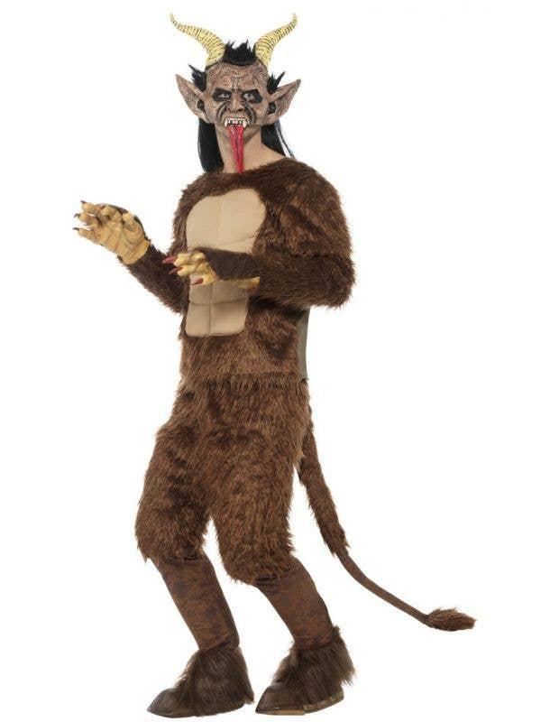 Men's Brown Furry Christmas Demon Krampus Halloween Deluxe Smiffy's Fancy Dress Costume Main Image