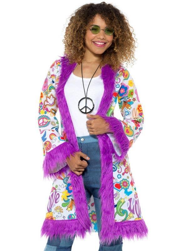 Groovy Print Womens Purple Fur Trim Coat Hippie Clothes - Front Image