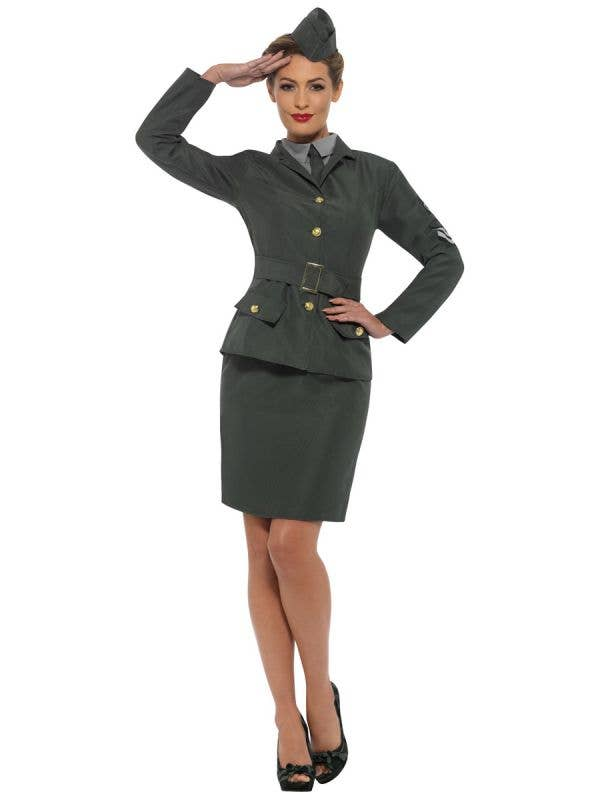 Women's Green WW2 Army Uniform Costume Front Image