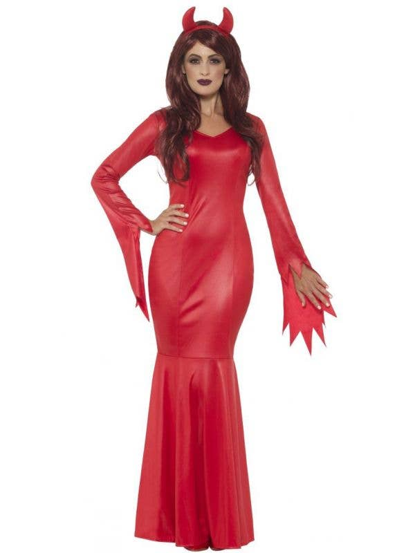 Women's Red Wet Look Devil Mistress Halloween Fancy Dress Costume Main Image