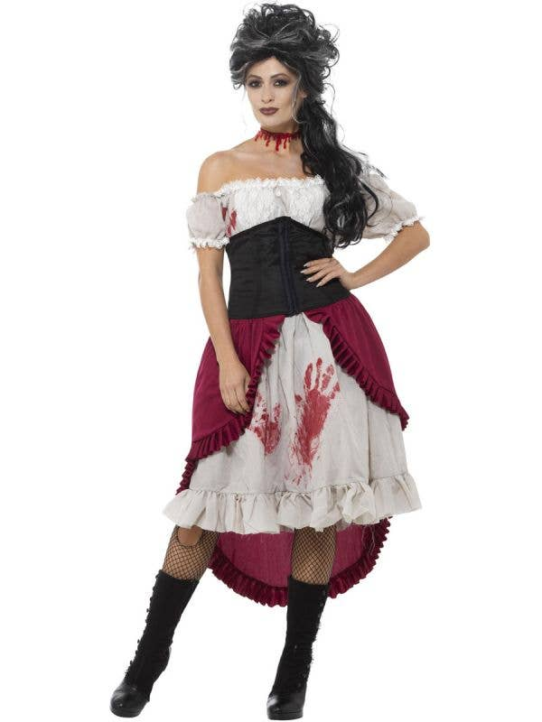 Women's Victorian Slasher Victim Halloween Costume Front Image