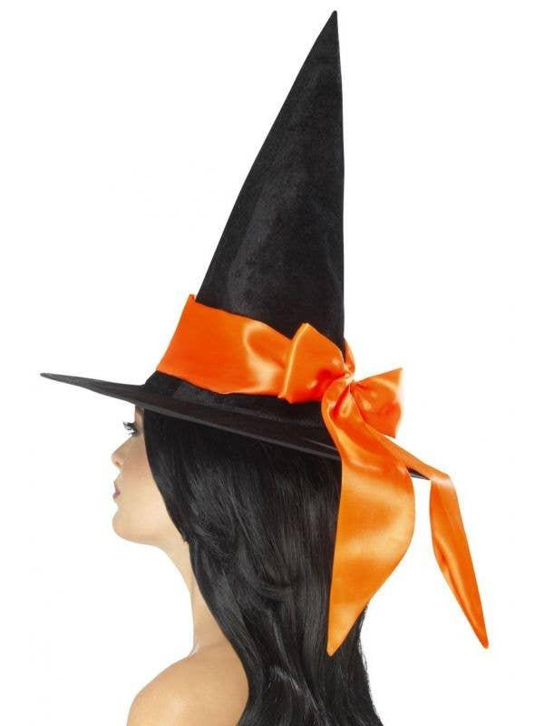Women's Black Velvet And Orange Satin Witches Hat Halloween Costume Accessory Main Image