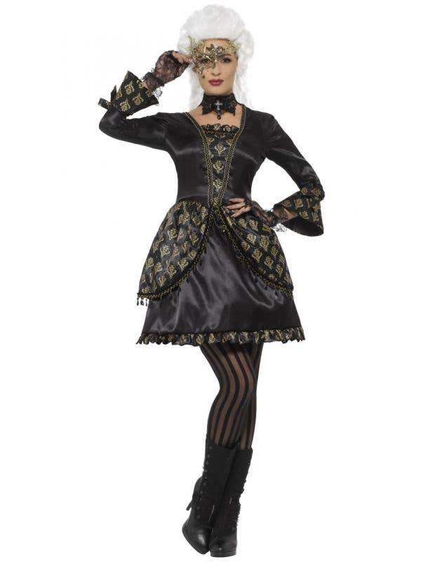 Women's Deluxe Black And Gold Baroque Burlesque Marie Antoinette Masquerade Fancy Dress Costume Main Image