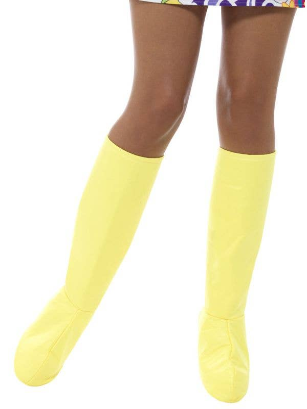 Womens Yellow Go Go Boot Covers 60s Costume Accessory - Main Image