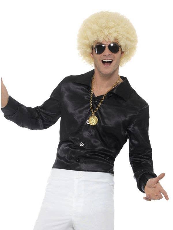 Mens Black Satin 60s Costume Shirt - Main Image