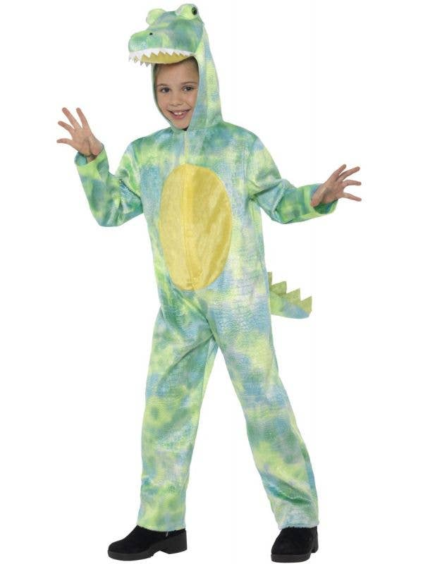 Kids Green Dinosaur Hooded Onesie Fancy Dress Costume Front Image