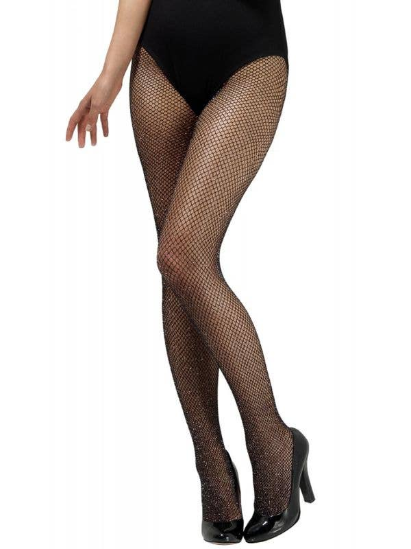Women's Full Length Black Fishnet Stockings with Silver Glitter Detail