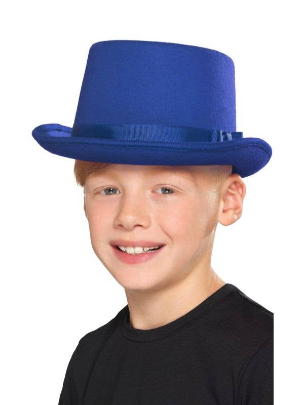 Blue Top Hat Kid's Magician Costume Accessory - Boy View