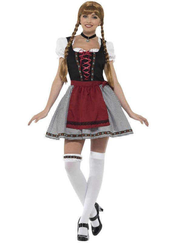 Sexy Red and Black Women's Oktoberfest Flirty Fraulein Costume Front Image