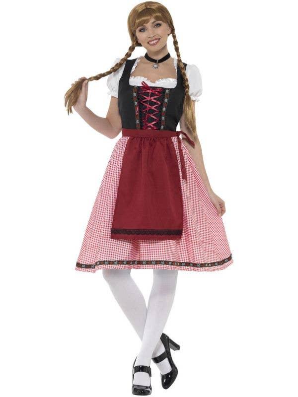 Women's Red Chequered Bavarian Tavern Maid Oktoberfest Fancy Dress Costume Front View 1