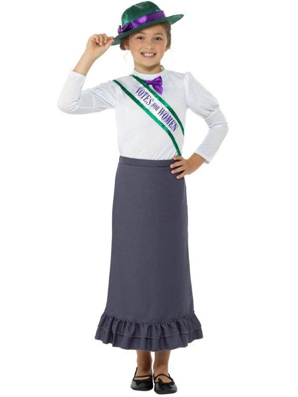 Girl's Victorian Suffrage Book Week Fancy Dress Costume - Main Image