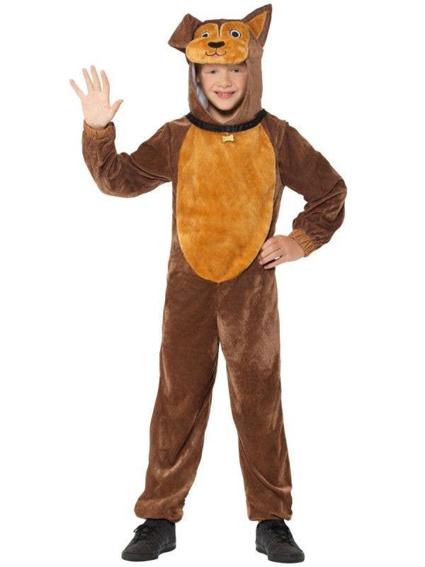 Boys or Girls Plush Brown Dog Animal Onesie Costume Front Image
