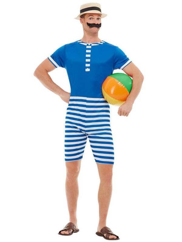 Men's 1920's Blue Swimwear Costume - Front Image