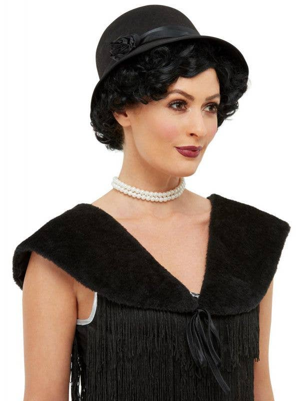 Womens Black Flapper Hat and Shawl 1920s Dress Accessory - Main Image