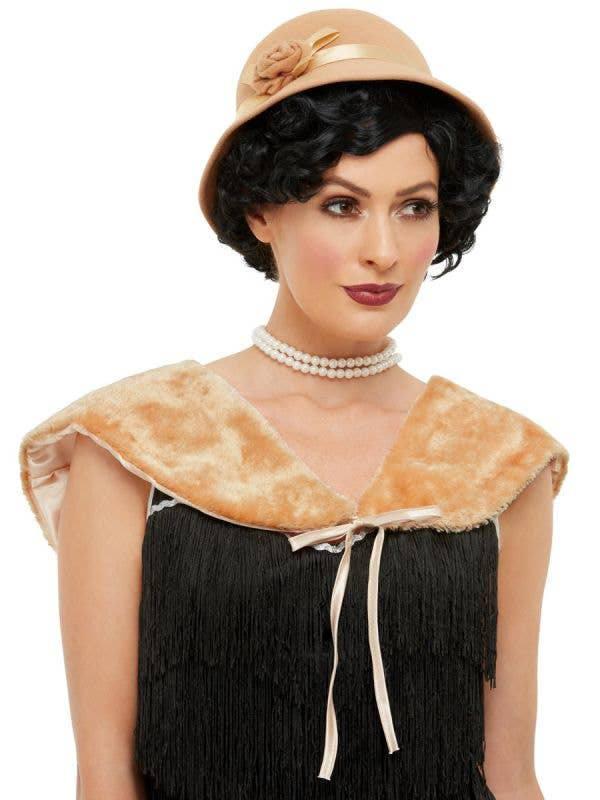 Women's Beige Flapper Hat and Shawl Accessory - Main Image