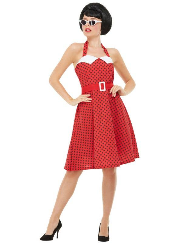 Womens Red Polka Dot Rockabilly 50s Dress Up Costume - Front Image