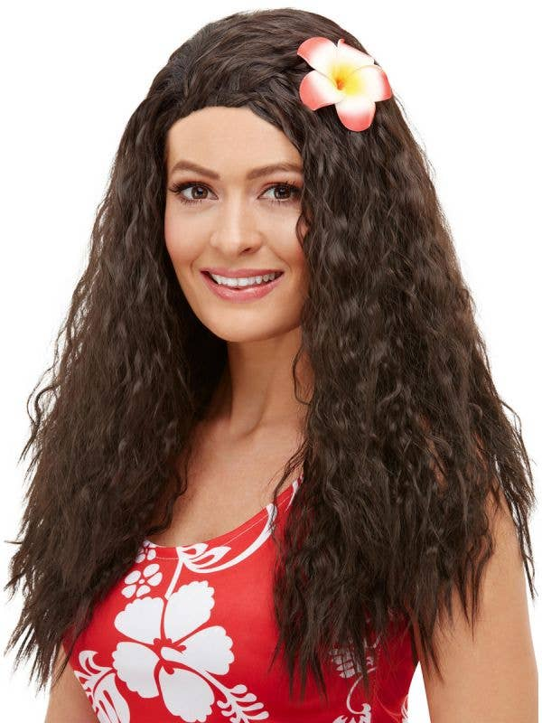 Women's Long Curly Brown Hawaiian Costume Wig with Frangipani Flower
