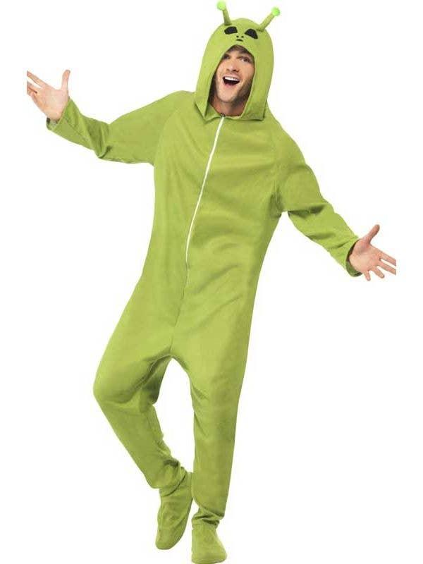 Men's Green Alien Onesie Halloween Costume Front
