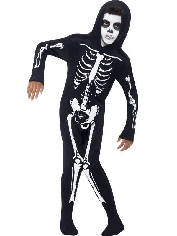 Boy's Black and White Skeleton Halloween Onesie Front View