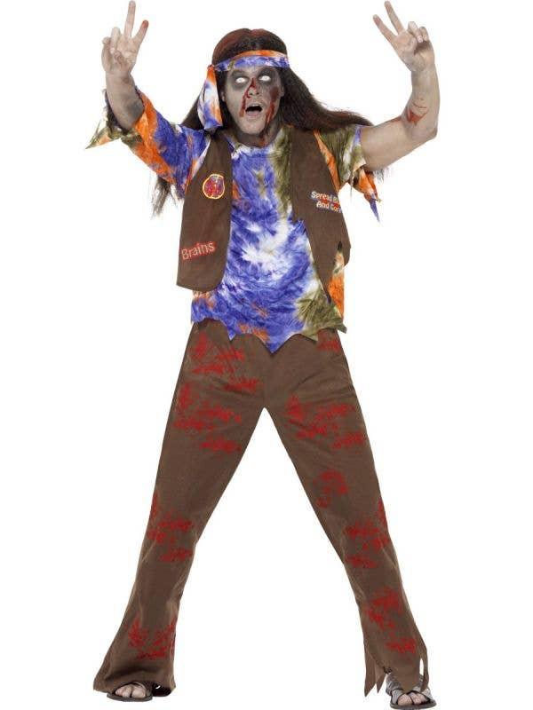 1970's Hippie Men's Zombie Halloween Costume Front