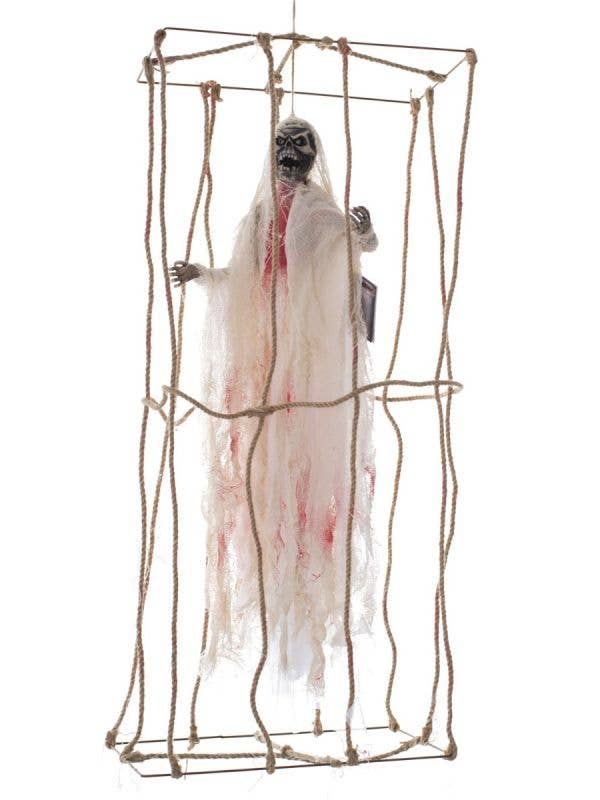 Animated Skeleton in a Cage Halloween Decoration Main Image