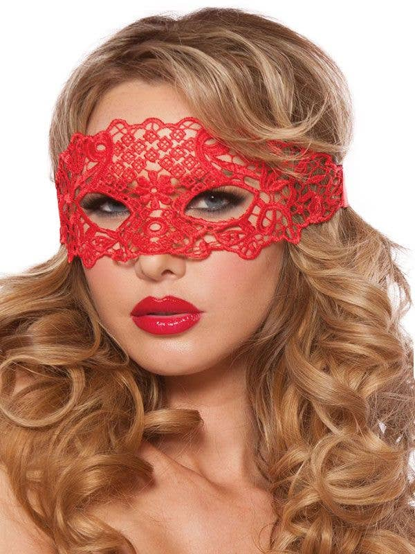 Womens Red Lace Masquerade Eye Mask