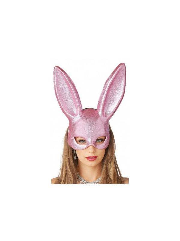 Pink Glitter Bunny Masquerade Mask Women's Costume Accessory Main Image