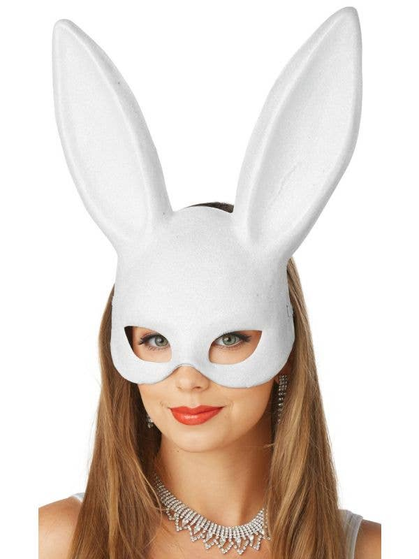 Glitter White Bunny Women's Masquerade Mask Main Image
