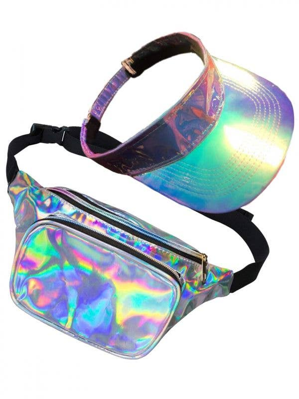 Shiny Silver Holographic Visor Hat and Bum Bag Accessory Set