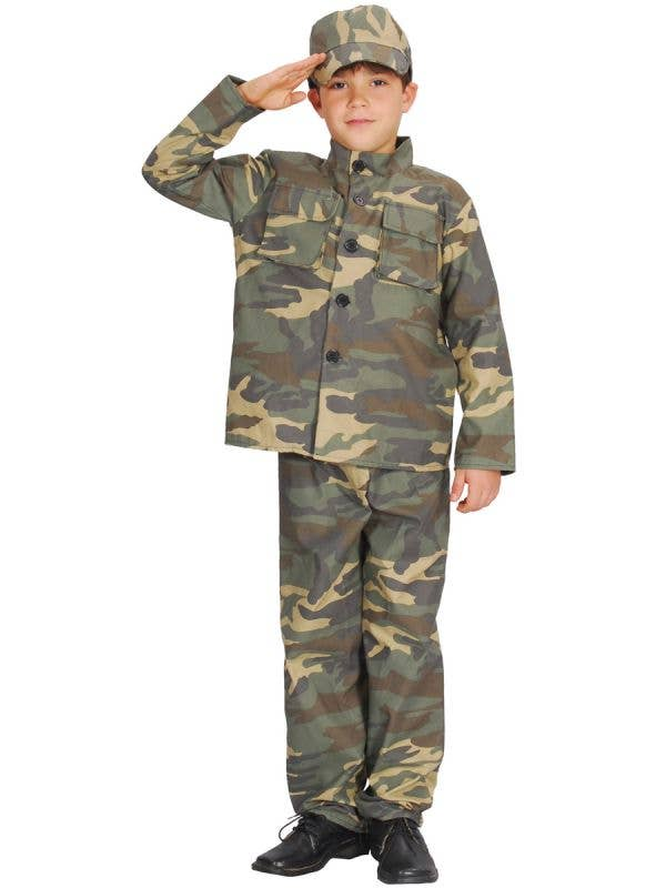 Boy's Army Solider Camouflage Uniform Fancy Dress Costume Main Image
