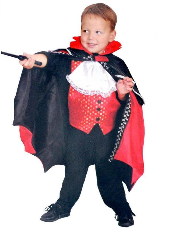 Boys Dracula Vampire Reversible Skeleton Fancy Dress Costume Main Image