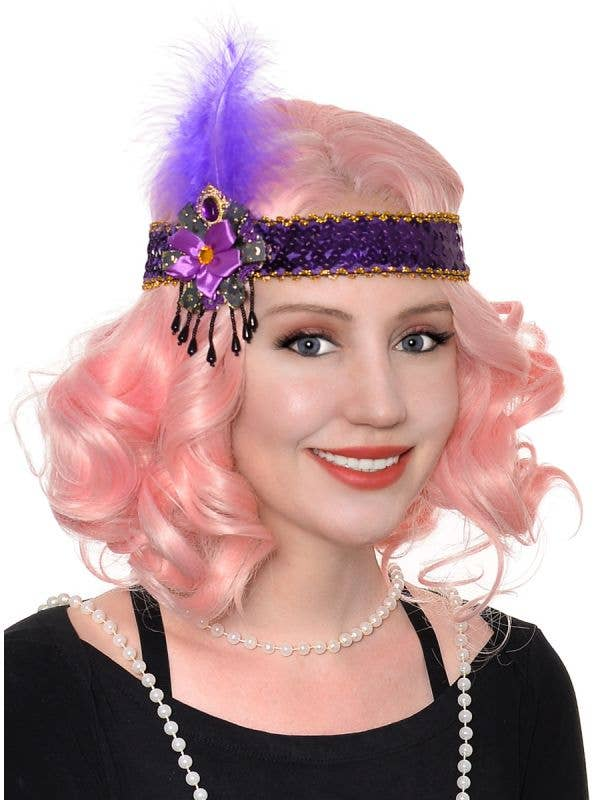 Purple Sequin Feather and Beads Flapper Headband - Main Image