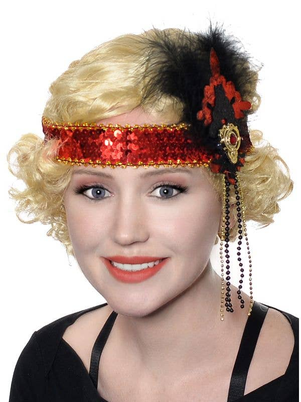 Women's Deluxe Red and Black Flapper Headband with Sequins and Glitter - Main Image