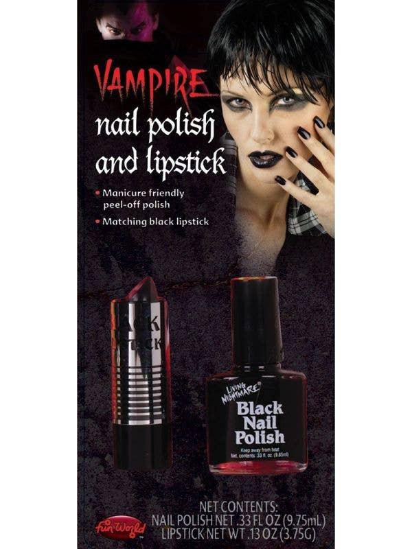 Vampire Black Lipstick and Nail Polish Halloween Makeup Set