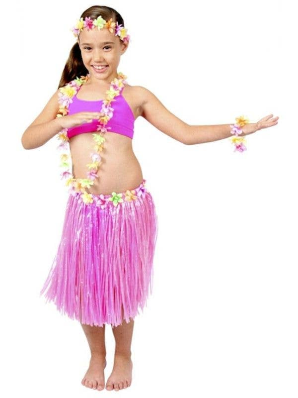2a44cc56303 Pink Hawaiian Girl s Grass Skirt and Lei Costume Kit