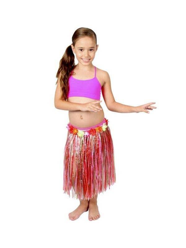 498415e4e0f54 Girls Red Grass Skirt with Flowers   Kids Red Hawaiian Hula Skirt